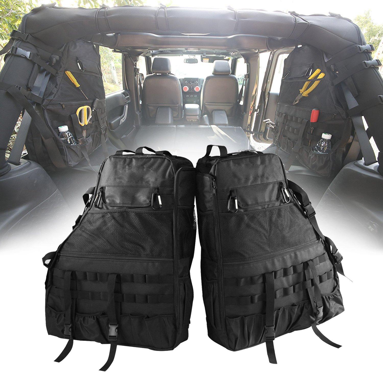 Roll Bar Storage Bag Cage with Multi-Pockets & Organizers & Cargo Bag Tool Kits for Jeep Wrangler JK JL TJ LJ & Unlimited 4-Door 1997-2018
