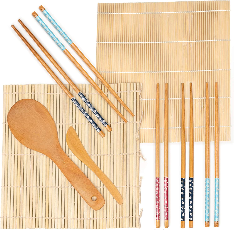 9 Pièces Kit Sushi Maker en Bambou| 2 Tapis Bambou, 5 Paires de Baguettes, 1 Pagaie de Riz, 1 Épandeur de Riz| 100% Tout Naturel, Écologique & Carbonisé| pour le Bricolage, Débutants, Cadeau Noël.