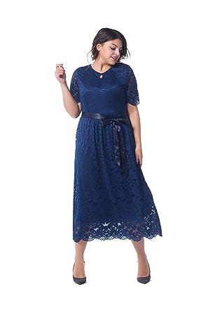 55bd3e09c38 ESPRLIA Women s Plus Size Double V Neck Lace Dress Fit and Flare Dress 1X-5X