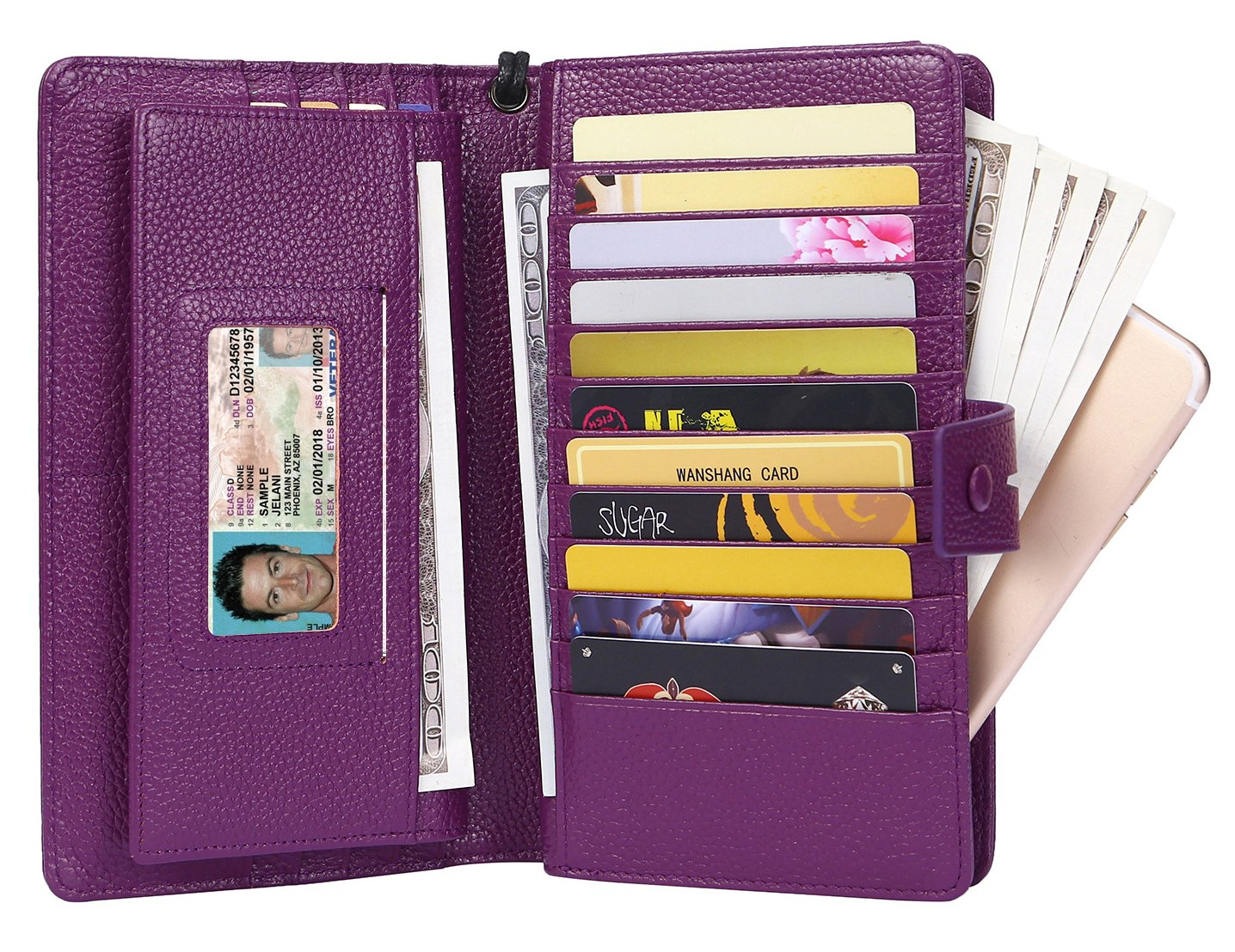 AINIMOER Women's Big RFID Blocking Leather Zip Around Wallets for Womens Clutch Organizer Checkbook Holder Large Travel Purse(Lichee Purple) by AINIMOER (Image #4)