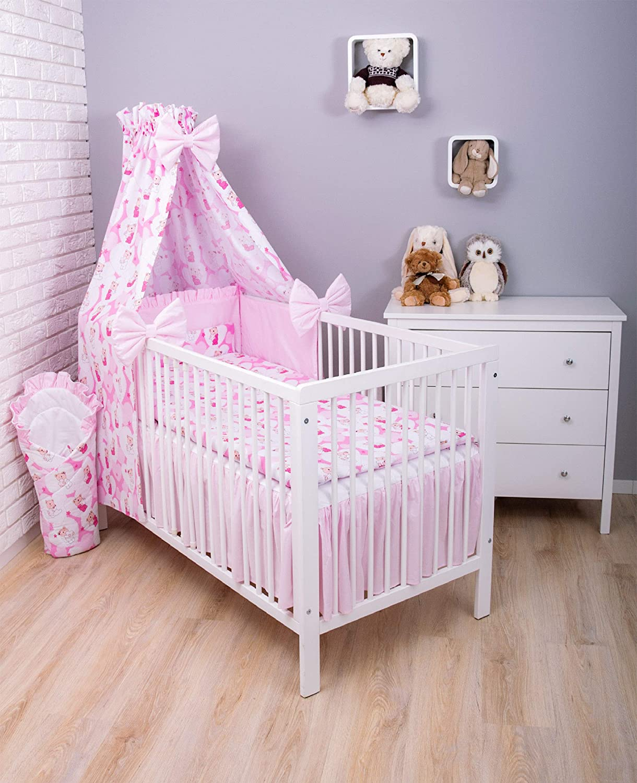 Amilian/® Baby Bettw/äsche 7tlg Bettset mit Nestchen Kinderbettw/äsche Himmel 100x135cm B/är mit Herzen Rosa//Hellrosa Chiffonhimmel