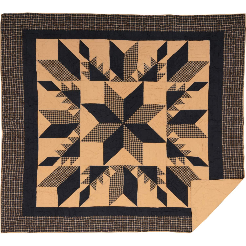 King VHC Brands Dakota Star King Cotton Quilt in Black and Tan