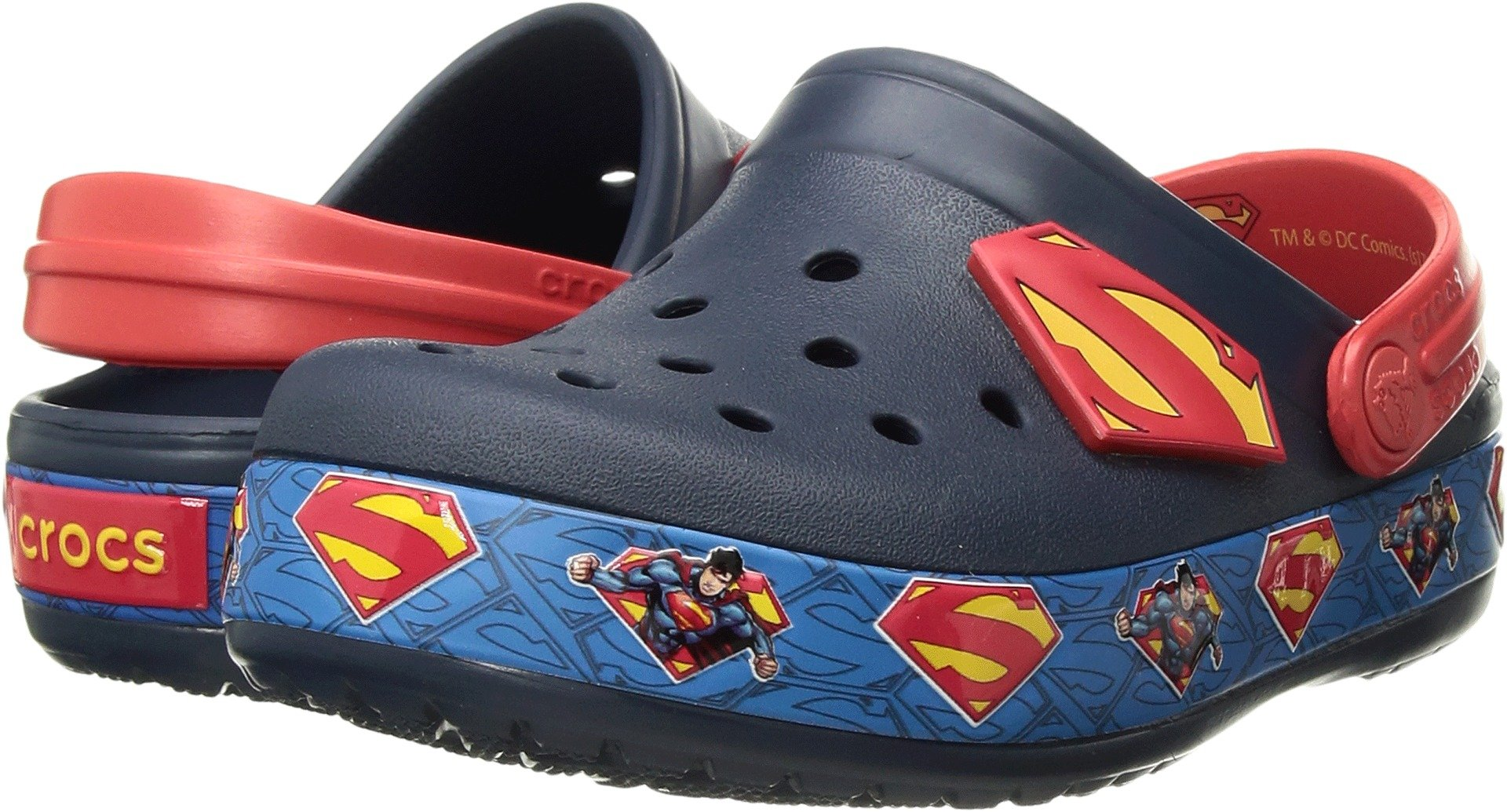 Crocs Boys' Crocband Superman Clog K, Navy, 7 M US Toddler