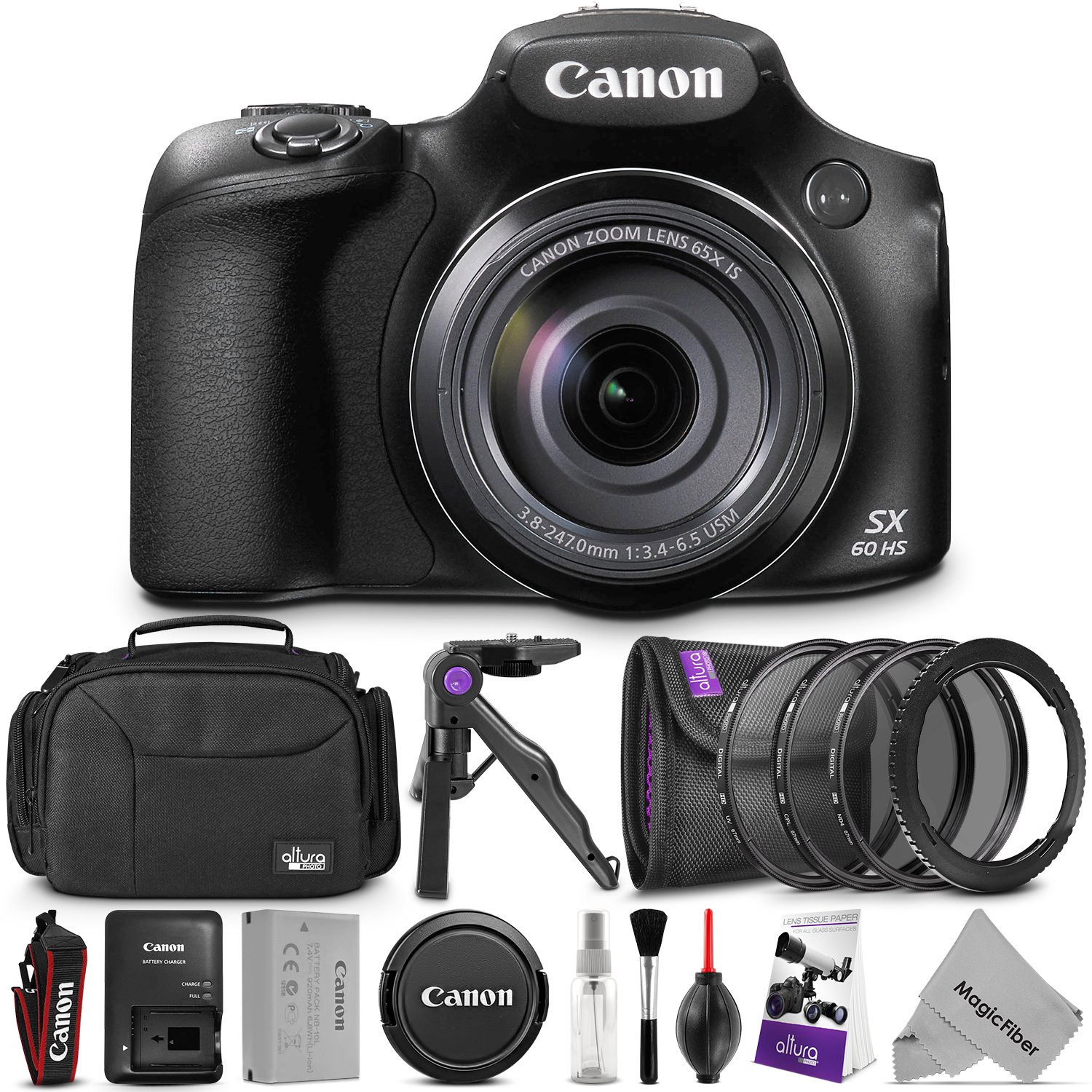 Canon PowerShot SX60 HS Digital Camera w/ Essential Photo and Travel Bundle – Includes: Altura Photo Shoulder Bag, UV-CPL-ND4, 67mm Lens Adapter Ring, Camera Cleaning Set by Canon