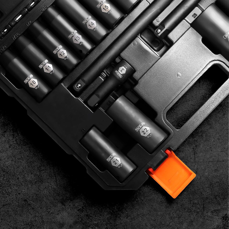 HIS1A Set Bussole a Impatto Profondo da 1//2 di Pollice 6 Punti Include Set di Prolunghe 3Pcs TACKLIFE 18Pcs Aggiornati 15Pcs Prese Metriche 10-24mm