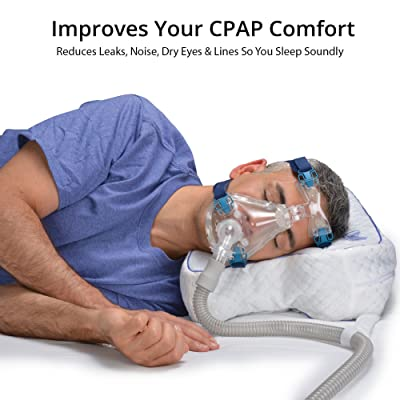 Contour Products CPAPMax Pillow 2.0 CPAP Bed Pillow - Pressure Free Cutouts to Alleviate Mask Shifting, Leaking and Pressure