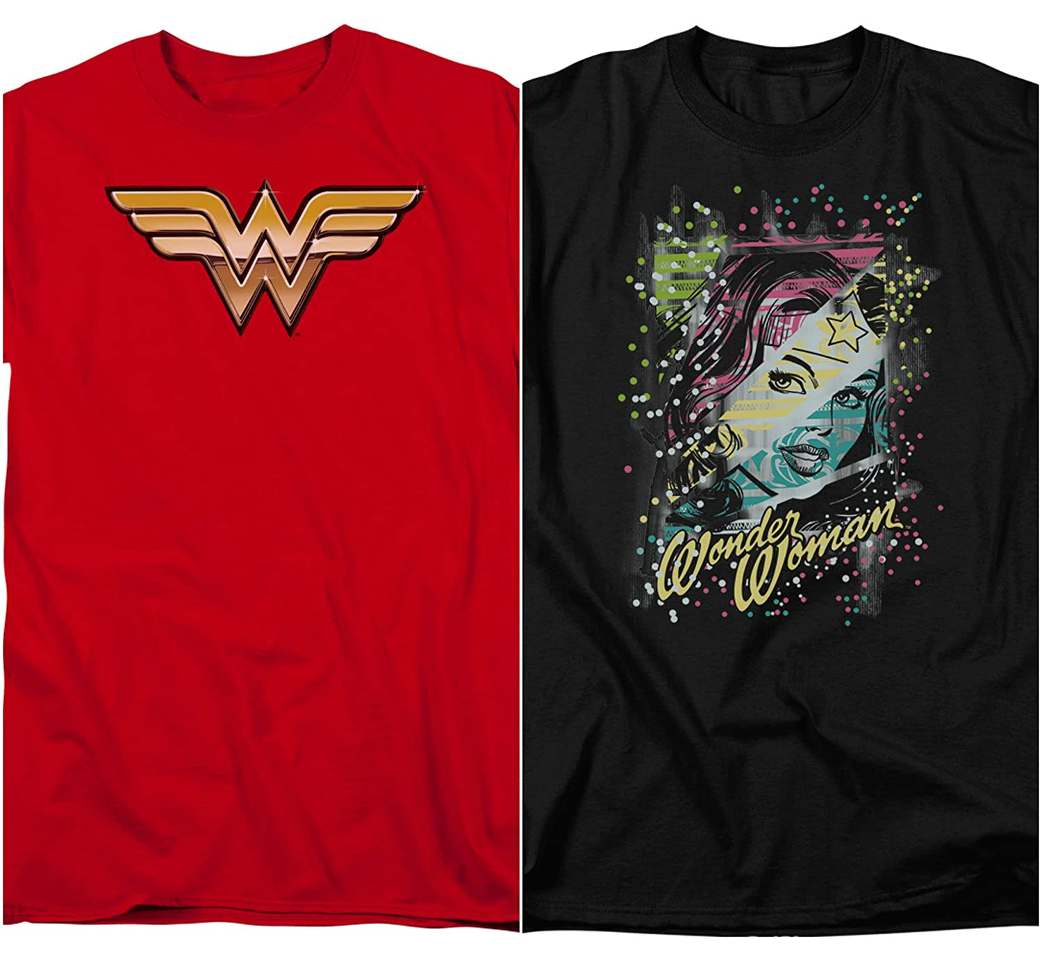 c3290e205 Amazon.com: Trevco Official 2 Pack Combo Wonder Woman DC Comics Justice  League Classic Retro Vintage Men's Adult Graphic T-Shirts: Clothing
