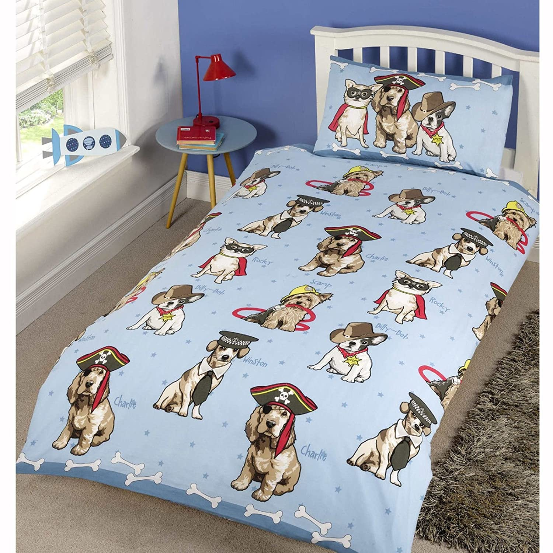 Doggies Blue Single Duvet Cover & Pillowcase Set Rapport