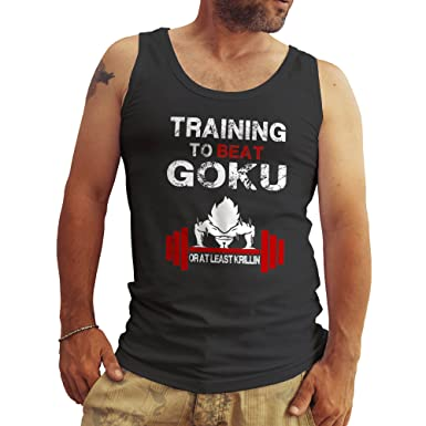 c91b1ce4b3ecf Training to Beat Goku Fun Logo Noir Débardeur Homme Tank Tops XX Large