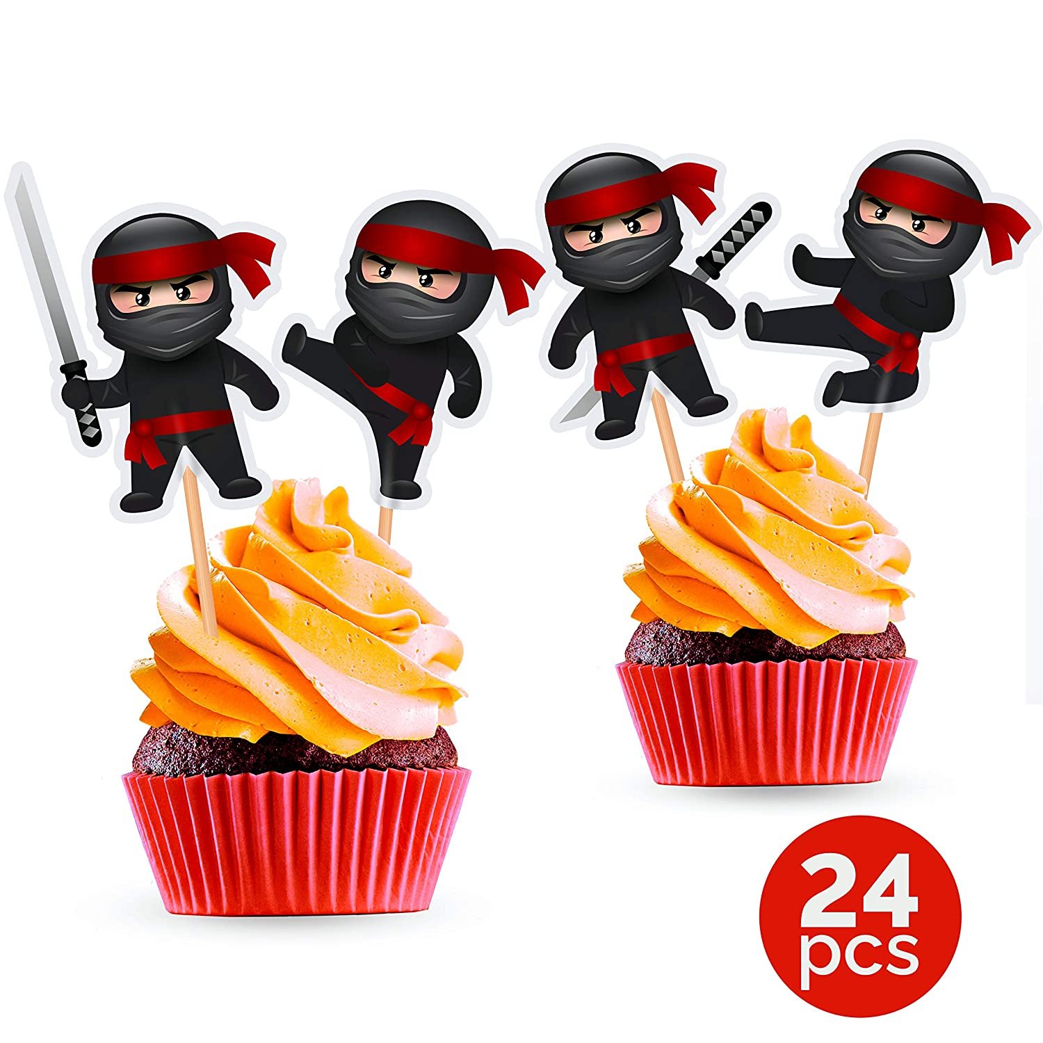 Ninja Cupcake Toppers - Ninja Birthday Party Decorations Supplies Karate Themed- 24 PCS
