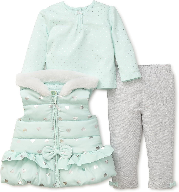 Little Me Aqua Heart Toddler Girls 3-Piece Vest Set