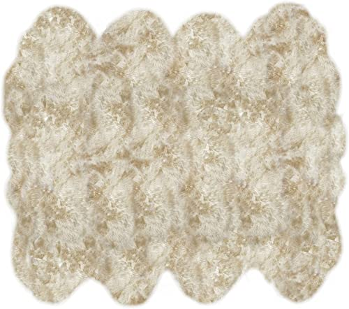 LAMBZY Shapes Sheepskin Champagne Eight Pelts Area Rug
