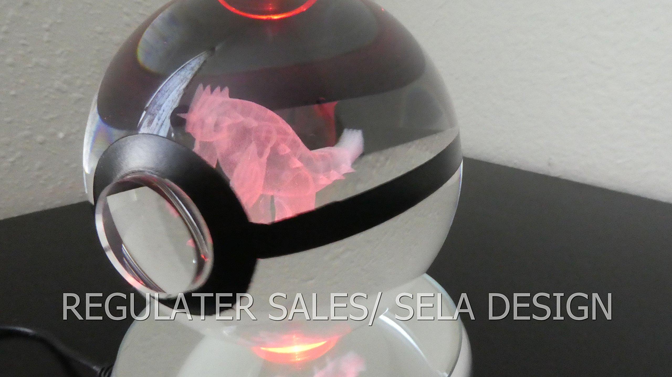 Sela Design. Multiple Designs Pokemon Go inspired Laser K9 crystal Engraved-LED rotating base. Base changes color toy nightlight lamp (Groudon) by sela design (Image #3)