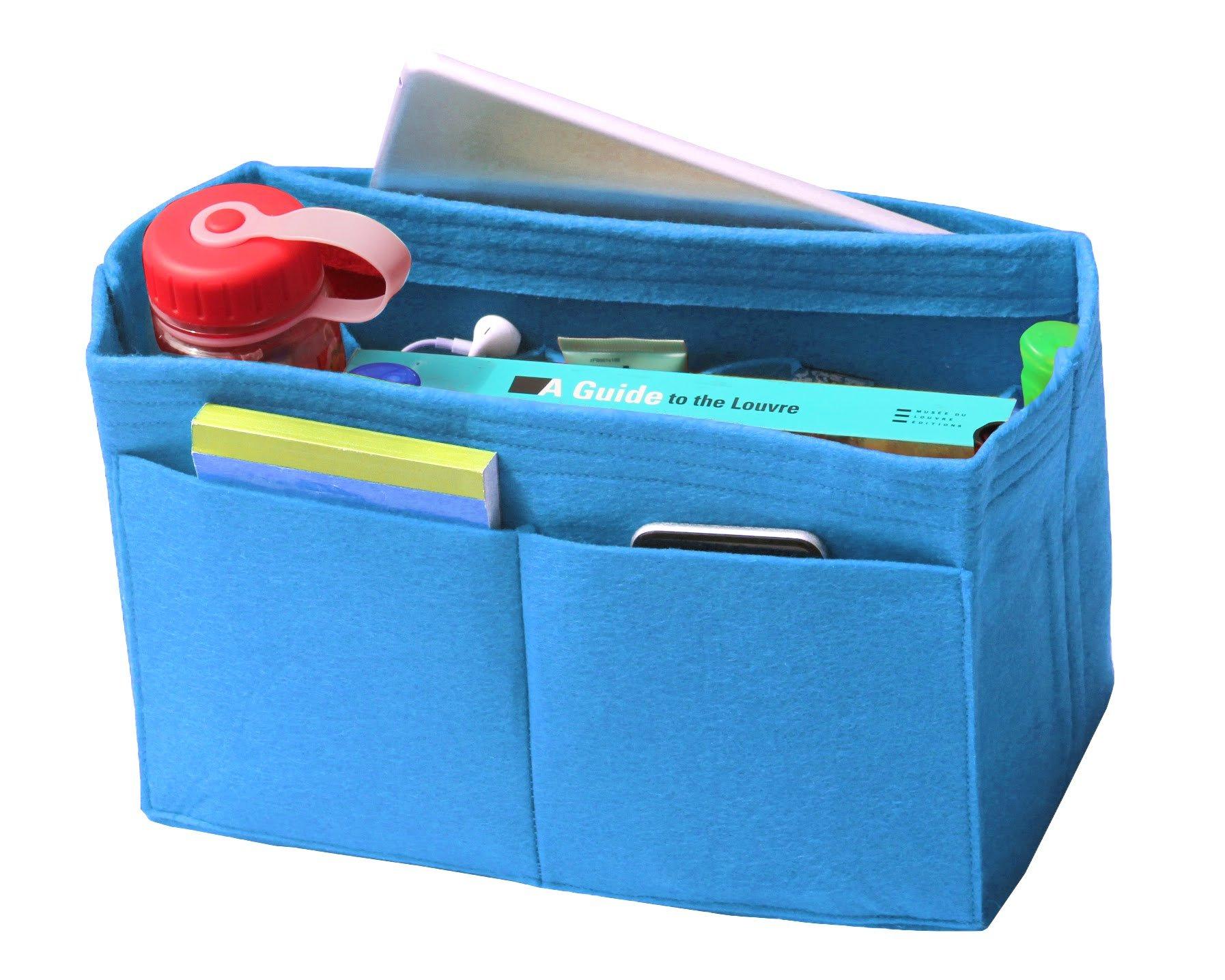 [Fits Various Bags, L.V Her.mes Long.champ Go.yard] Felt Tote Organizer (w/Milk Water Bottle Holder), Purse Insert, Cosmetic Makeup Diaper Handbag, Belongings Pocket