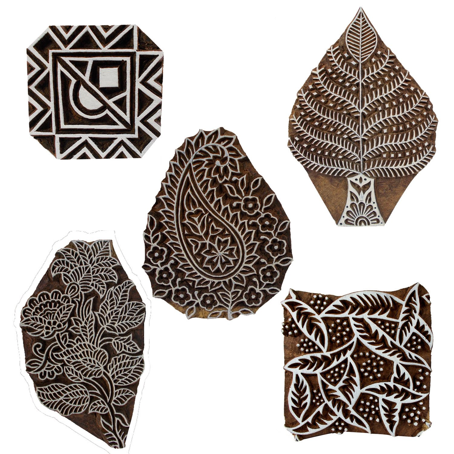 Bunch of 5 Wooden Textile Handmade Floral Paisley Tree Leaf Printing Textile Block Clay Potter Craft Scrapbook Stamps