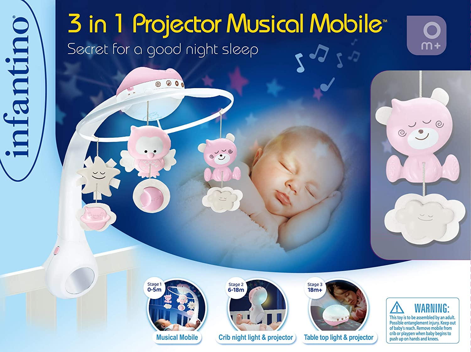 Infantino 3 in 1 Projector musical mobile cot /& table top night light wake up mode simulates daylight Grey