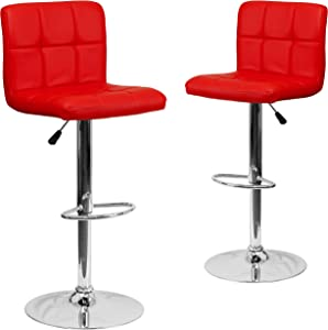 Flash Furniture 2 Pack Contemporary Red Quilted Vinyl Adjustable Height Barstool with Chrome Base