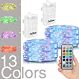 Hometarry LED String Lights,2 Pack Battery Operated Lights Multi Color Changing String Lights Remote Control Waterproof 50LED 16.4ft Indoor Decorative Silver Wire Lights for Bedroom,Christmas lights