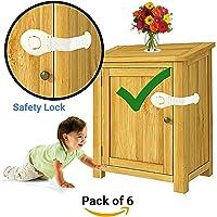 KidDough Furniture Safety Locks for Kids (21x5cm, White) - 6 Pcs
