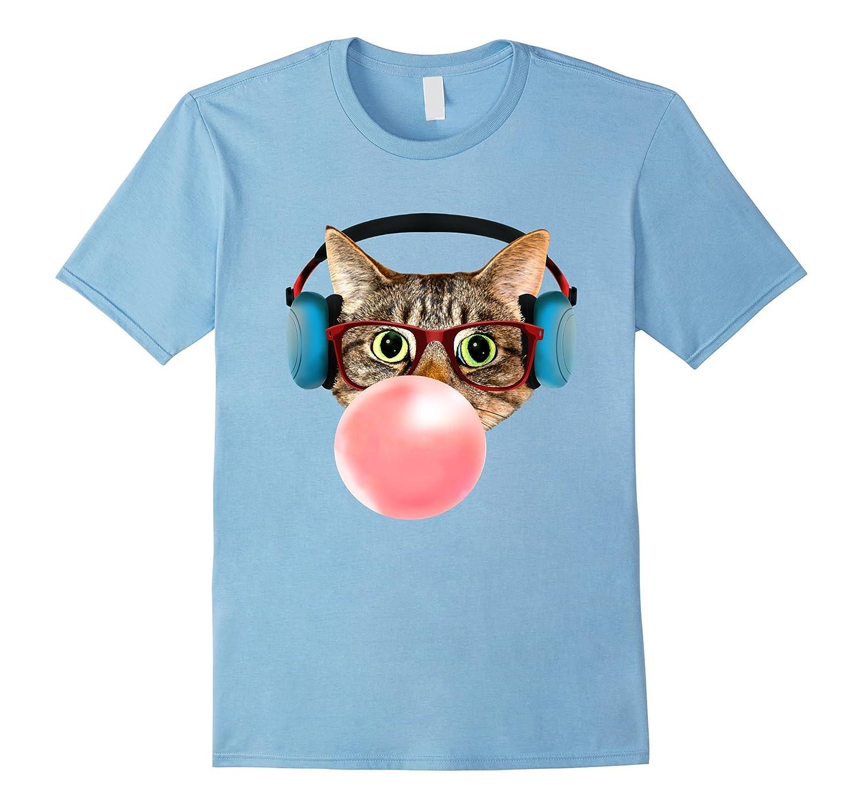 Cat with Smart Glasses Headphones Pink Bubble Gum T-shirt-T-Shirt