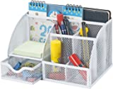 Bonsaii Steel Mesh Organizer, Home Office Desktop Organizer, 6 Compartment with 1 Slide Drawer for Office, School and Home Use, White (W6348)