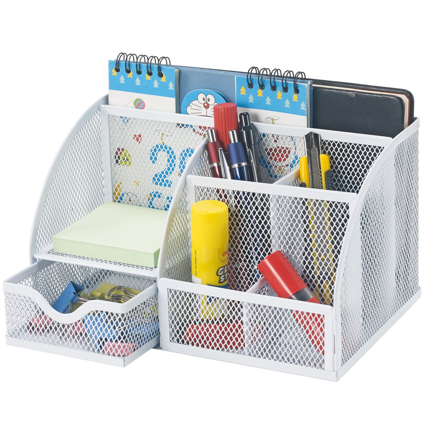 Bonsaii Home Office Steel Mesh Desktop Organizer, Desk Accessories Holder,6 Divided Compartments with 1 Slide Drawer, White(W6348)