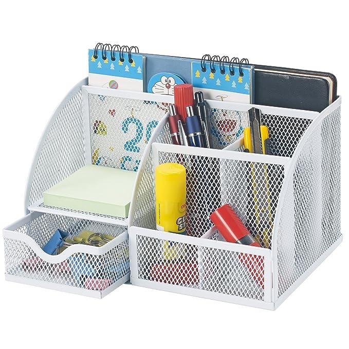 Bonsaii oficina Metal de malla organizador de escritorio 6 compartimentos con 1 cajón de diapositivas, blanco (w6348): Amazon.es: Oficina y papelería