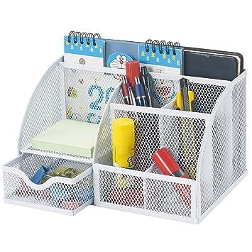 home office desktop 1. Bonsaii Home Office Steel Mesh Desktop Organizer, Desk Accessories Holder,6 Divided Compartments With 1