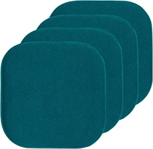 "Sweet Home Collection Chair Cushion Memory Foam Pads Honeycomb Pattern Slip Non Skid Rubber Back Rounded Square 16"" x 16"" Seat Cover, 4 Pack, Peacock Blue"