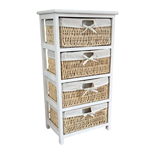 Home Vida Maize 4 Drawer Bathroom/Bedroom Storage Unit, Wood, White