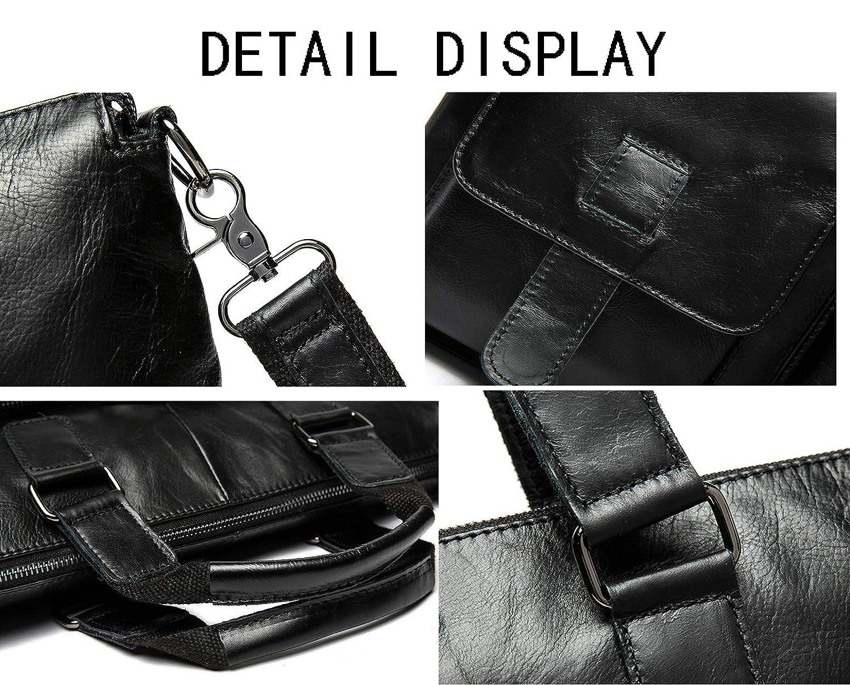 Mens Genuine Leather Briefcase Business Messenger Shoulder Bag Attache Case Tote Portfolio