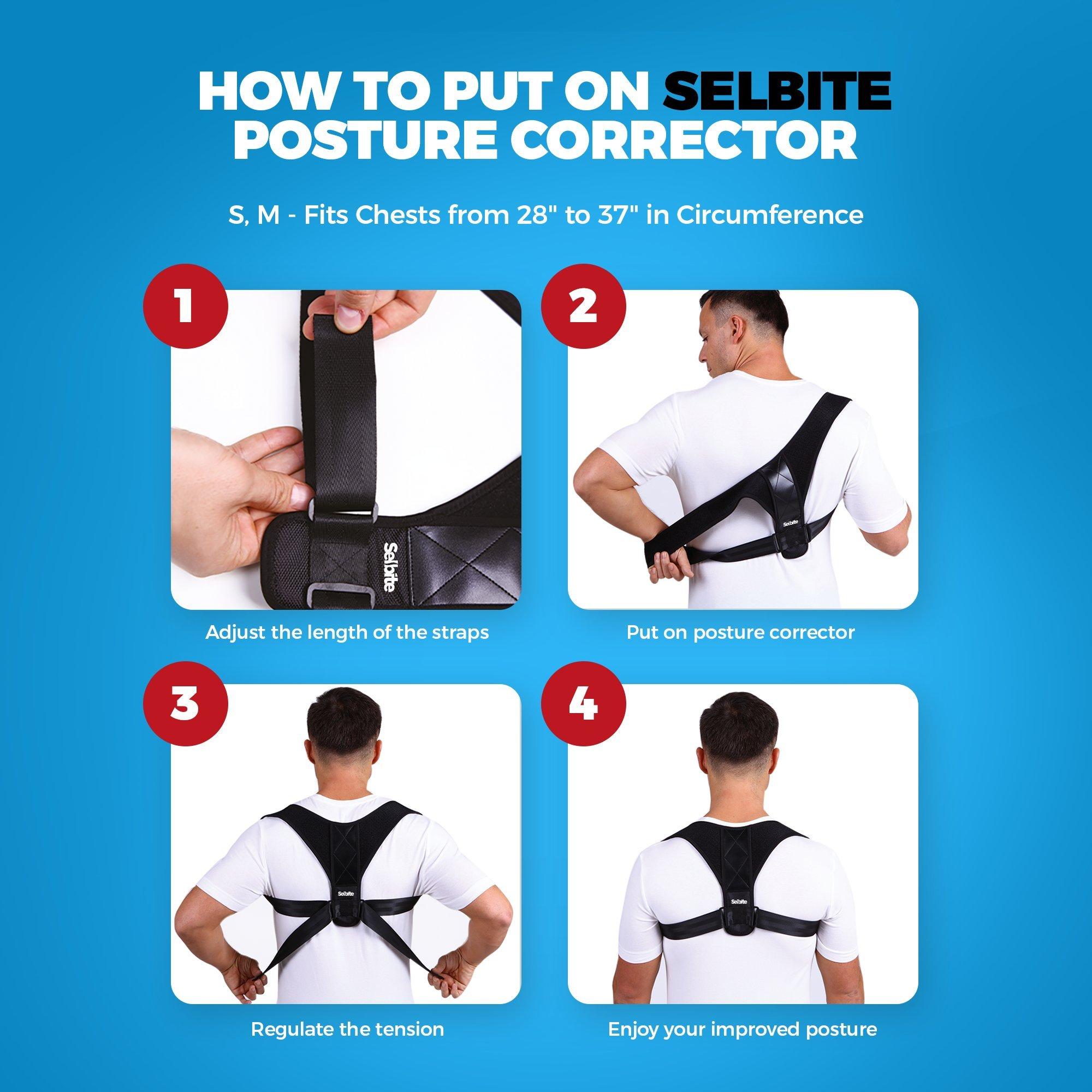 Back Posture Corrector for Men Women - Effective Posture Corrector Upper Back Straightener - Adjustable Posture Brace - Back Brace - Lightweight and Comfortable for Improving Posture by Selbite (Image #8)