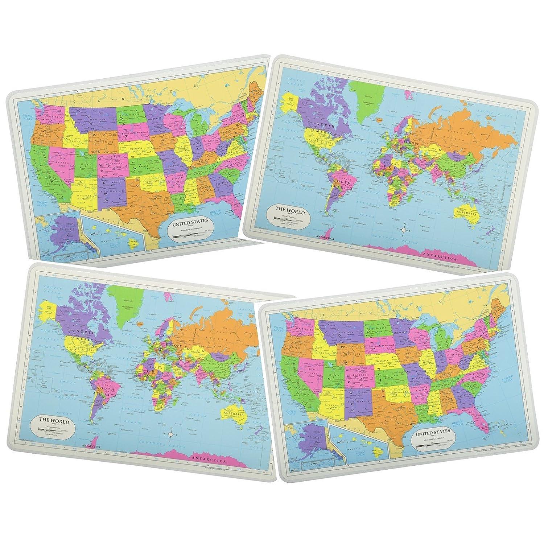 Painless学習教育プレースマットセット2 USAマップと2世界マップノンスリップ洗濯可能   B0753ZYQNW
