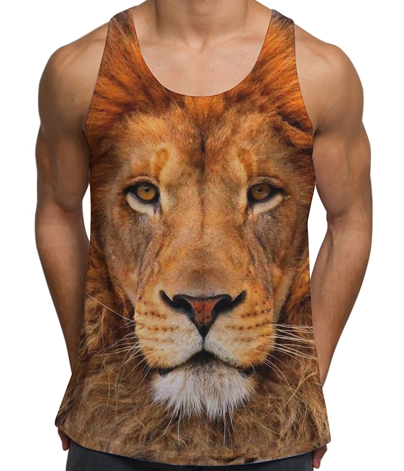 7dfb929b9525b0 Amazon.com  Bang Tidy Clothing Lion Face Animal Print Tank - Perfect for  Festival Summer Vacation Gym Men s Printed Top  Clothing