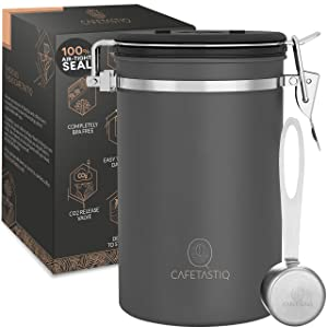 CafetastiQ Coffee Canister - Large 22oz Airtight Coffee Container for Storage with Date Dial and Release Valve - Fresher Coffee Bean for longer and Extra coffee accessories Scoop (Simple Grey)