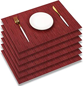 PABUSIOR Placemats for Dining Table Set of 6 Washable - Easy to Clean Woven Vinyl Placemat, 12 X 18 Inch Non-Slip Durable Crossweave Table Mats (Burgundy Red 6 pcs)