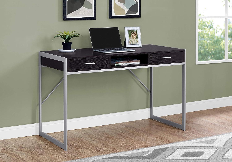 - Amazon.com: HomeRoots Cappuccino,Silver MDF,Metal Computer Desk