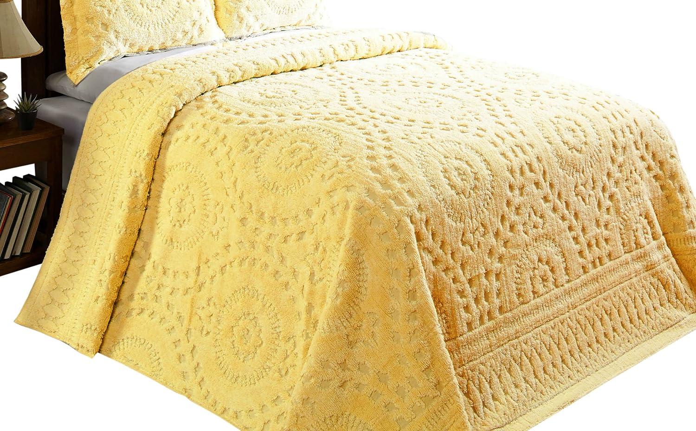 Betterトレンド海外/パンRioシェニール織Bedspread、フル、イエロー B0771LTXXD