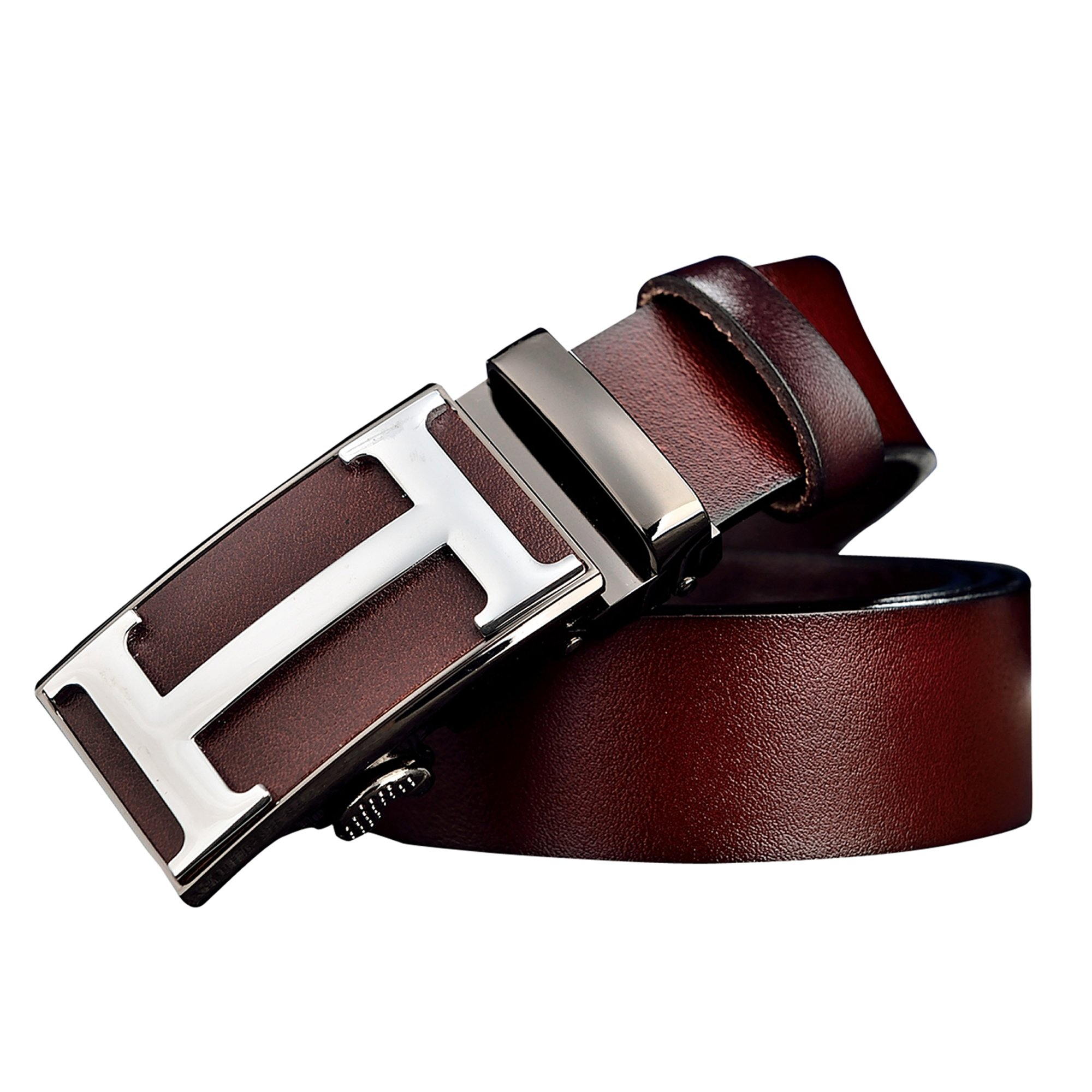 Menschwear Men's Geninue Leather Belt Adjustable Waistband with Automatic Buckle 35MM Coffee120cm
