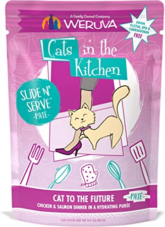 Amazon Com Weruva Cats In The Kitchen Slide N Serve Grain Free Natural Wet Pate Cat Food Pouches Cat To The Future 3oz Pouch Pack Of 12 Pet Supplies