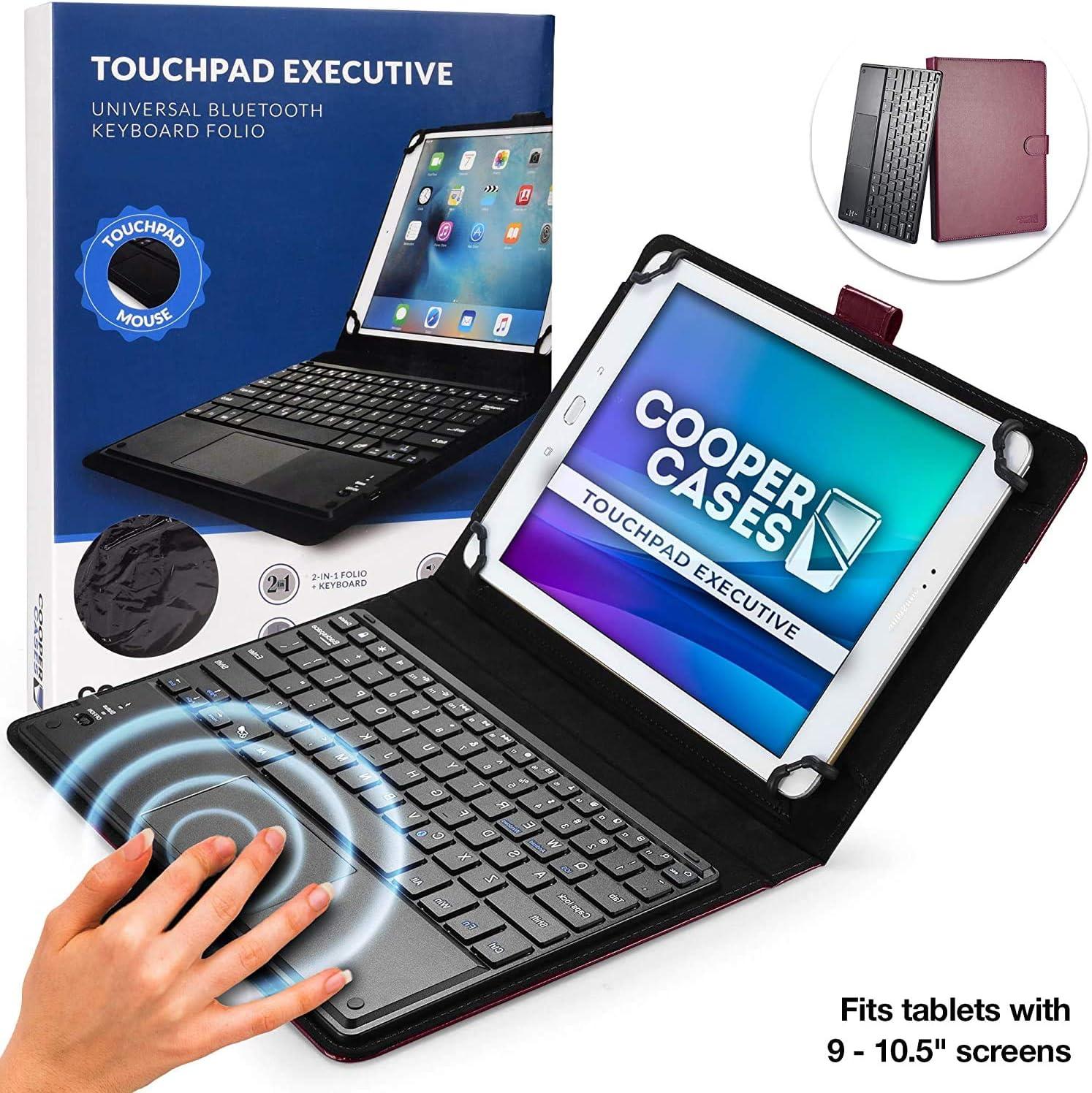 Funda-Teclado 9-10.1, Funda-Teclado, Cooper TOUCHPAD Executive Funda 2 en 1, Cuero Teclado, ratón inalámbrico Bluetooth, Soporte (Morado)