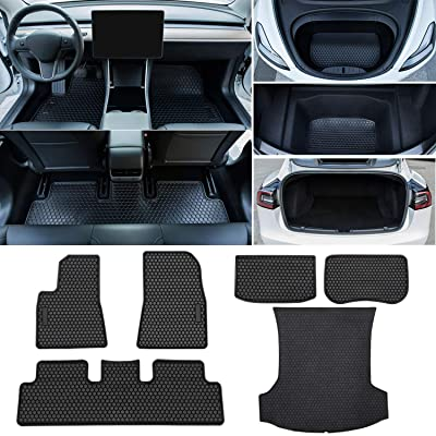 Bonbo Model 3 All Weather Floor Mats & Trunk Cargo Liners for Tesla Model 3 2020 2020 2020 2020 Custom Fit Eco-Friendly Heavy Duty Rubber Odorless (6 Pcs): Automotive