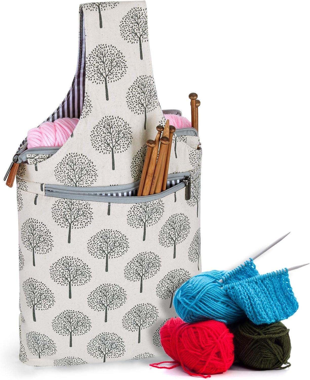 peque/ño,arboles Teamoy Bolso de Ovillos Bolsa en Mano de Tejer Bolsos para Agujas Mochila de Crochet