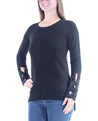 3078f23ad9 Bar III Womens Wool Grommet Detail Pullover Sweater Deep Black-Black Size XS