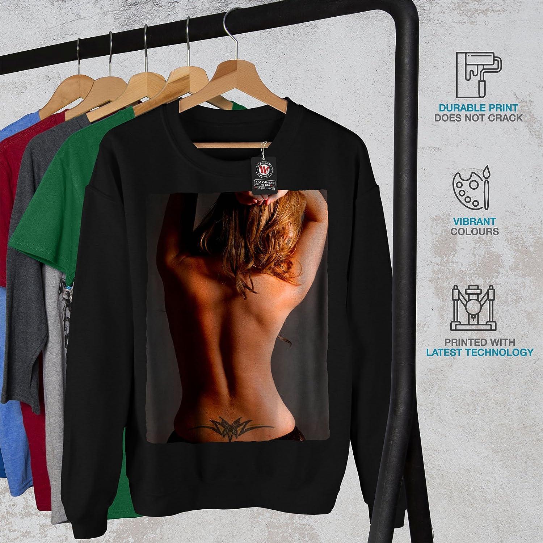 wellcoda Back Tattoo Hot Girl Mens Sweatshirt Romantic Casual Jumper