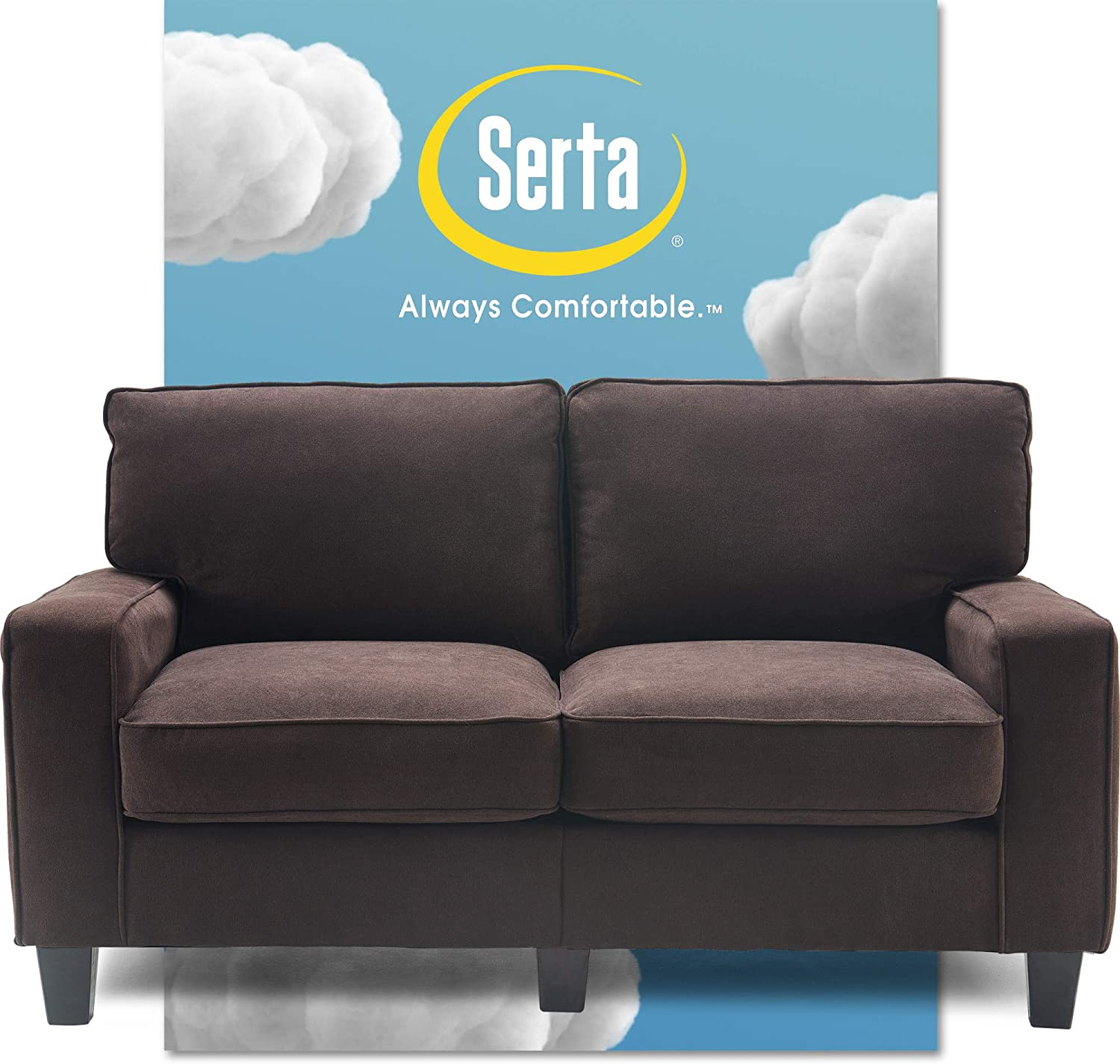 "Serta Palisades Upholstered Sofas for Living Room Modern Design Couch, Straight Arms, Soft Fabric Upholstery, Tool-Free Assembly, 61"" Loveseat, Dark Brown"