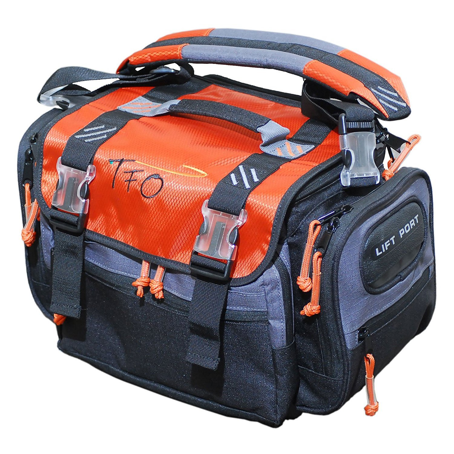 TFO 1695FBM Carry All Fishing Bag-Medium Size 16'' x 9.5'' x 11'', Red/Grey/Black by TFO