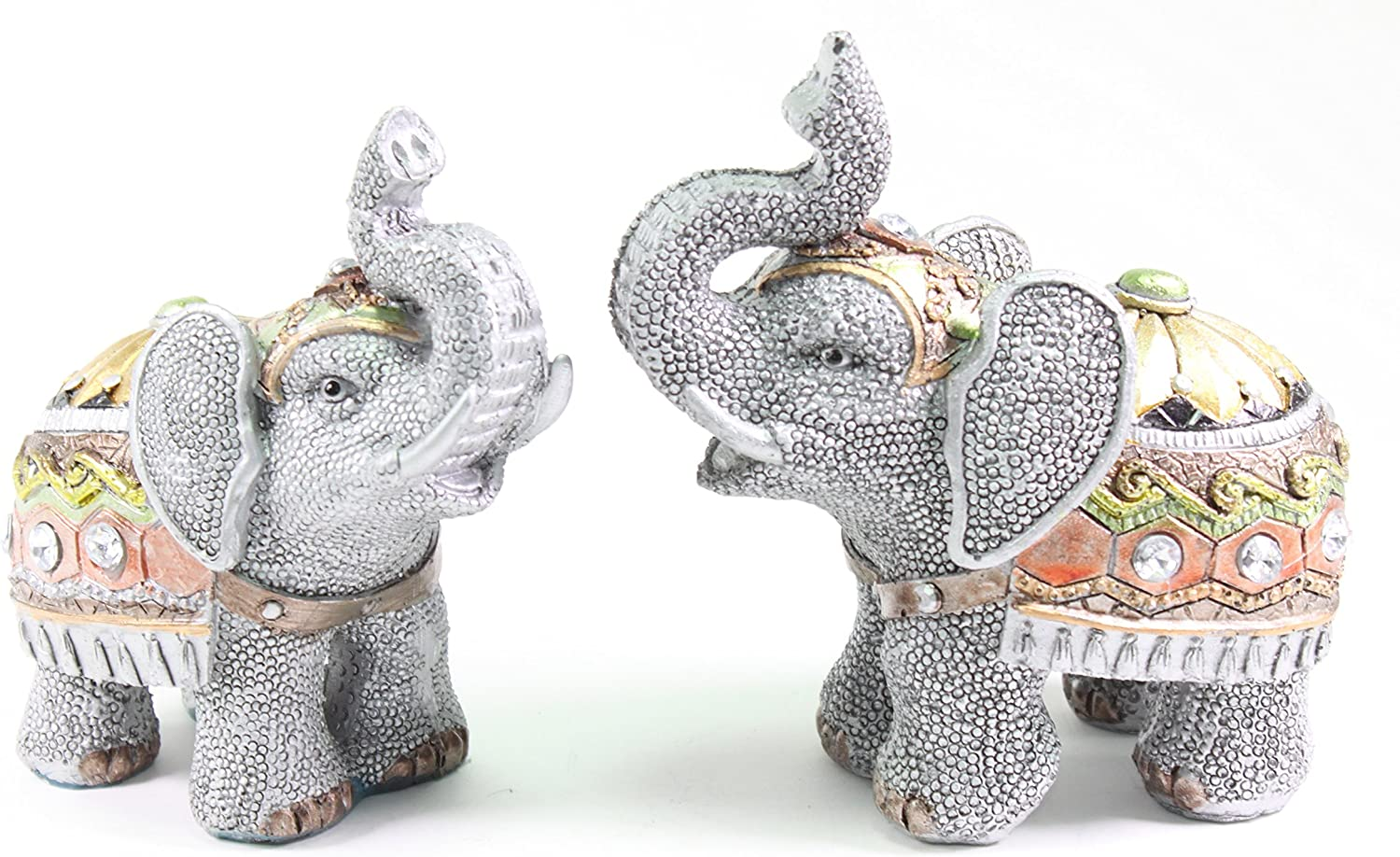 We pay your sales tax Feng Shui Small Elephants Wealth Lucky Figurine Home Decor Housewarming Gift Set 2