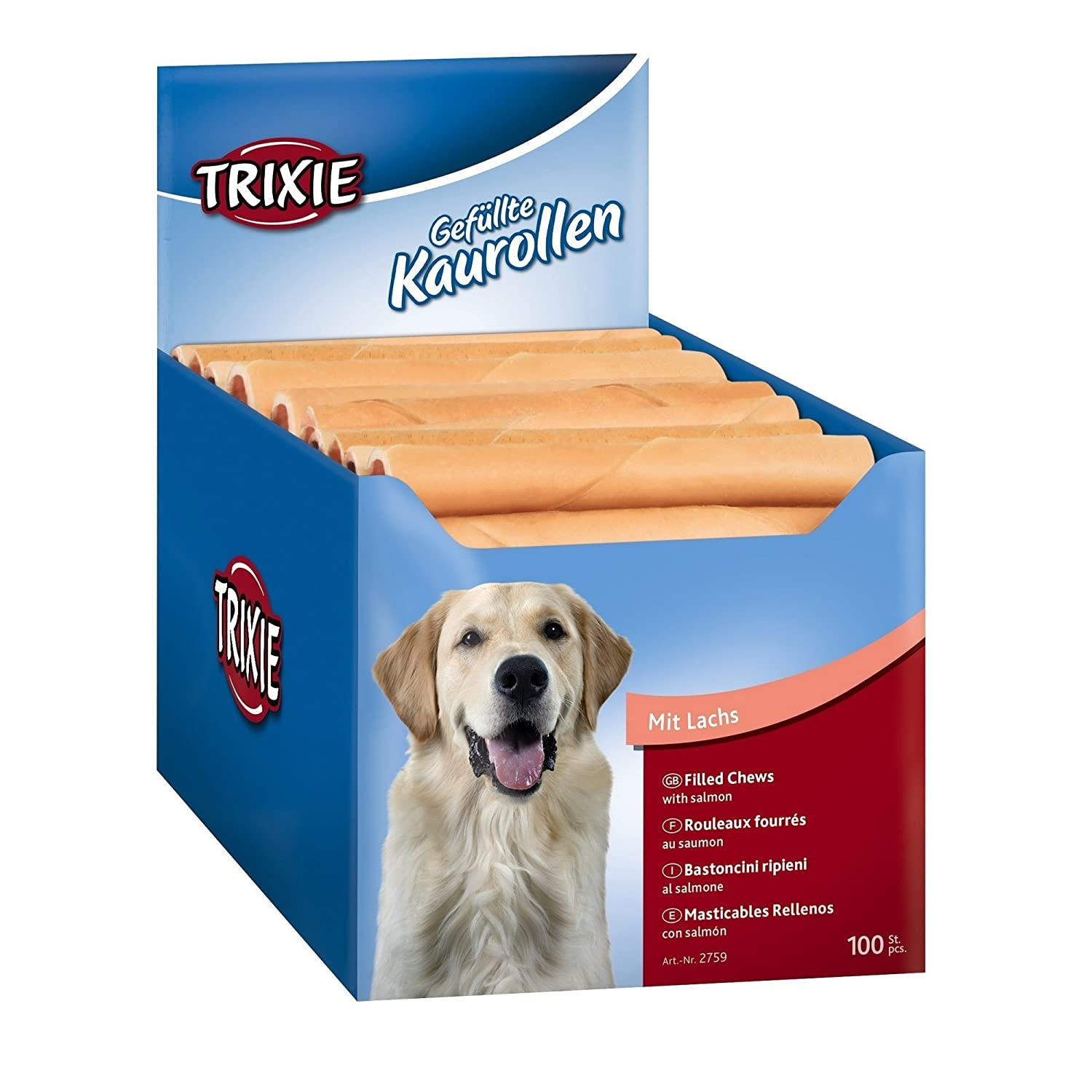 22 g, Pack of 100 Trixie Chewing Rolls Filled with Salmon for Dog, 22 g, Pack of 100