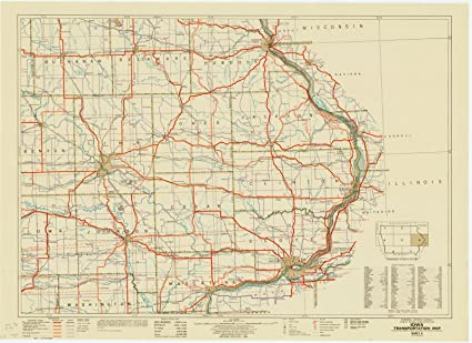 Iowa Map With Highways.Amazon Com Historic Map Iowa 1941 5 Iowa Transportation Map
